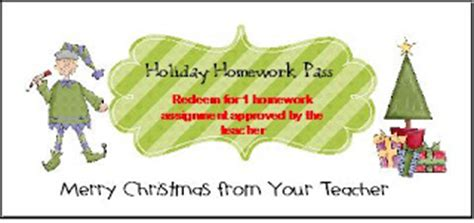 Printable Homework Pass - No Homework Coupons